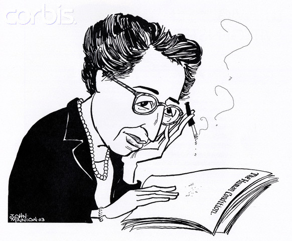 Caricature of Hannah Arendt by John Minnion